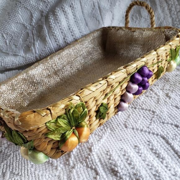Vintage Woven Square Fruit Basket with Liner